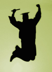 Graduate Shadow Jumping in Celebration